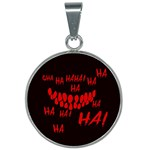 Demonic Laugh, Spooky red teeth monster in dark, Horror theme 25mm Round Necklace