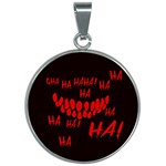 Demonic Laugh, Spooky red teeth monster in dark, Horror theme 30mm Round Necklace