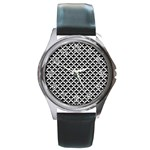Black and white Triangles pattern, geometric Round Metal Watch