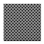 Black and white Triangles pattern, geometric Tile Coaster