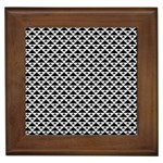 Black and white Triangles pattern, geometric Framed Tile