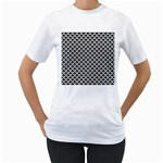 Black and white Triangles pattern, geometric Women s T-Shirt (White) (Two Sided)