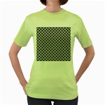 Black and white Triangles pattern, geometric Women s Green T-Shirt