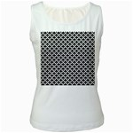 Black and white Triangles pattern, geometric Women s White Tank Top