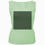 Black and white Triangles pattern, geometric Women s Green Tank Top