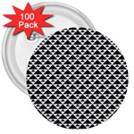 Black and white Triangles pattern, geometric 3  Buttons (100 pack)