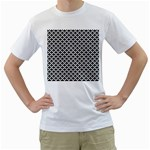 Black and white Triangles pattern, geometric Men s T-Shirt (White) (Two Sided)