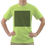 Black and white Triangles pattern, geometric Green T-Shirt
