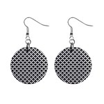 Black and white Triangles pattern, geometric Mini Button Earrings