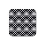 Black and white Triangles pattern, geometric Rubber Coaster (Square)