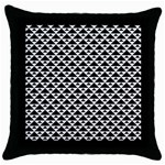Black and white Triangles pattern, geometric Throw Pillow Case (Black)