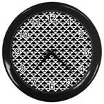 Black and white Triangles pattern, geometric Wall Clock (Black)