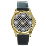 Black and white Triangles pattern, geometric Round Gold Metal Watch