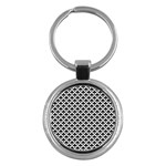 Black and white Triangles pattern, geometric Key Chain (Round)