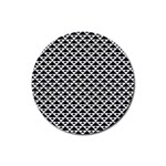 Black and white Triangles pattern, geometric Rubber Coaster (Round)