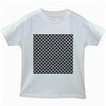 Black and white Triangles pattern, geometric Kids White T-Shirts