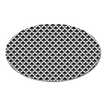 Black and white Triangles pattern, geometric Oval Magnet