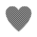 Black and white Triangles pattern, geometric Heart Magnet