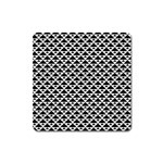 Black and white Triangles pattern, geometric Square Magnet