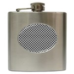 Black and white Triangles pattern, geometric Hip Flask (6 oz)