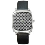 Black and white Triangles pattern, geometric Square Metal Watch