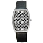 Black and white Triangles pattern, geometric Barrel Style Metal Watch
