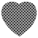 Black and white Triangles pattern, geometric Jigsaw Puzzle (Heart)