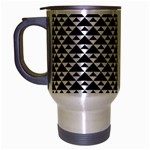 Black and white Triangles pattern, geometric Travel Mug (Silver Gray)