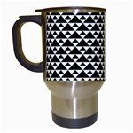 Black and white Triangles pattern, geometric Travel Mugs (White)