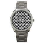 Black and white Triangles pattern, geometric Sport Metal Watch