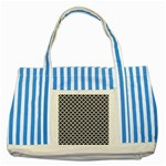 Black and white Triangles pattern, geometric Striped Blue Tote Bag