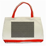 Black and white Triangles pattern, geometric Classic Tote Bag (Red)