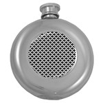 Black and white Triangles pattern, geometric Round Hip Flask (5 oz)