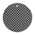 Black and white Triangles pattern, geometric Round Ornament (Two Sides)