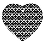 Black and white Triangles pattern, geometric Heart Ornament (Two Sides)