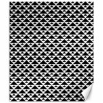 Black and white Triangles pattern, geometric Canvas 8  x 10