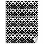 Black and white Triangles pattern, geometric Canvas 12  x 16