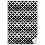 Black and white Triangles pattern, geometric Canvas 12  x 18