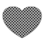 Black and white Triangles pattern, geometric Heart Mousepads