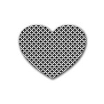 Black and white Triangles pattern, geometric Rubber Coaster (Heart)