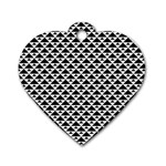Black and white Triangles pattern, geometric Dog Tag Heart (One Side)