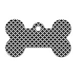 Black and white Triangles pattern, geometric Dog Tag Bone (Two Sides)