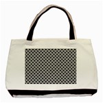Black and white Triangles pattern, geometric Basic Tote Bag (Two Sides)