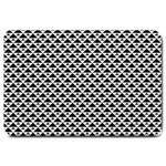 Black and white Triangles pattern, geometric Large Doormat