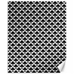 Black and white Triangles pattern, geometric Canvas 11  x 14