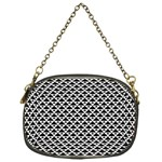 Black and white Triangles pattern, geometric Chain Purse (One Side)