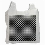 Black and white Triangles pattern, geometric Recycle Bag (One Side)