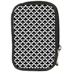 Black and white Triangles pattern, geometric Compact Camera Leather Case