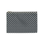 Black and white Triangles pattern, geometric Cosmetic Bag (Medium)