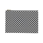 Black and white Triangles pattern, geometric Cosmetic Bag (Large)